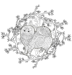 High detail patterned pomeranian dog vector