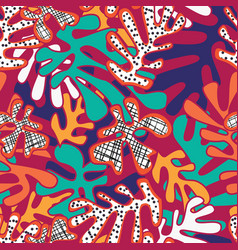 Matisse inspired shapes seamless pattern colorful vector