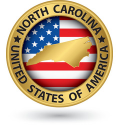 North Carolina state gold label with state map vector image