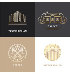 Real estate logo design templates vector