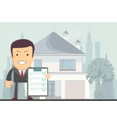Realtor offers to rent or buy a house vector image vector image