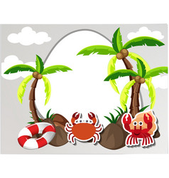 Round border with crabs and coconut trees vector