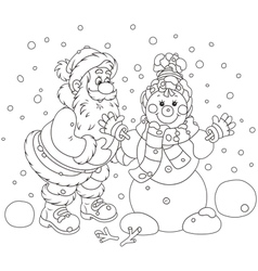 Santa and Snowman vector image