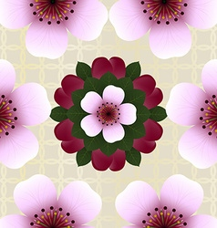 Seamless pattern with pink cherry flowers vector image vector image