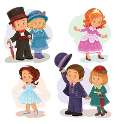 Set clip art with young children in vector image