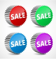 set of colorful 3d sale labels vector image