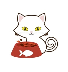 Small cat yellow eyes plate food fish print vector