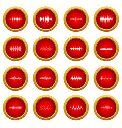 Sound wave icon red circle set vector