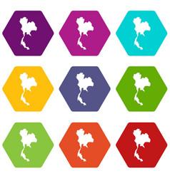 Thailand map icon set color hexahedron vector