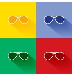 Trendy long shadow flat sunglasses icon set vector image vector image