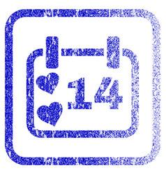 valentine calendar day framed textured icon vector image