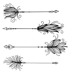 Very high quality set of arrows with feathers vector image