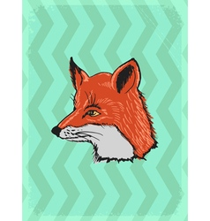 Vintage grunge background with fox vector