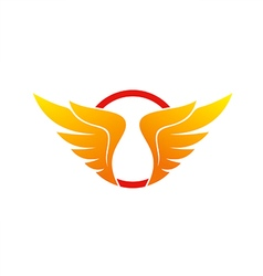 wing abstract circle logo vector image