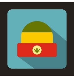 Rasta hat with marijuana leaf icon flat style vector