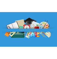 school items background vector image