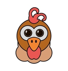Hen animal farm isolated icon vector
