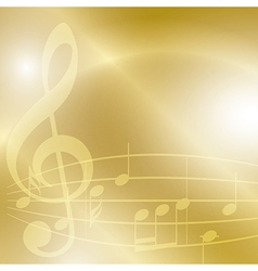 Golden music background with notes and lights vector