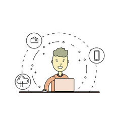 linear cute and happy man with laptop vector image