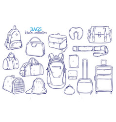 Hand drawn travel luggage set vector