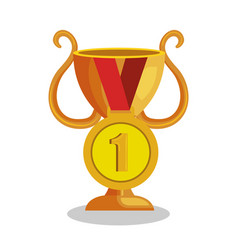 trophy cup with medal award icon vector image