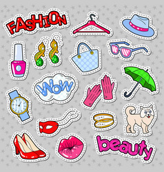 woman fashion stickers badges and patches vector image