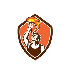 Athlete player raising flaming torch shield retro vector