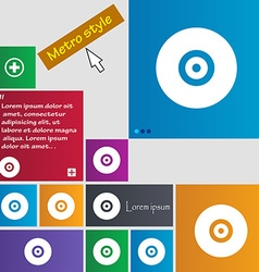 Cd or dvd icon sign metro style buttons modern vector