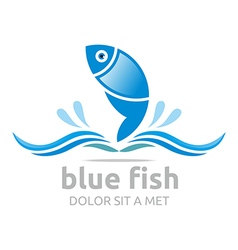 Logo blue fish circle design icon symbol vector