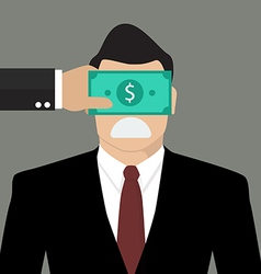 Businessman with dollar banknote taped to eyes vector