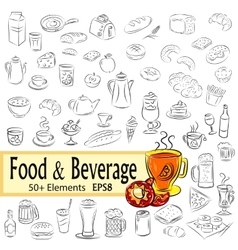 Sketch set of foods and drinks vector