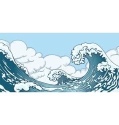 Ocean big wave in Japanese style vector image
