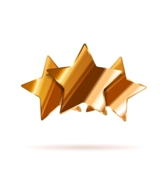 Three glossy bronze rating stars with shadow on vector image