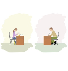 a girl and boy studying vector image