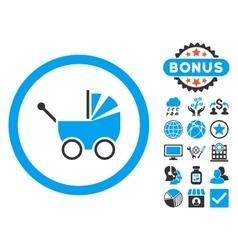 Baby carriage flat icon with bonus vector