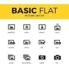 Basic set of picture icons vector
