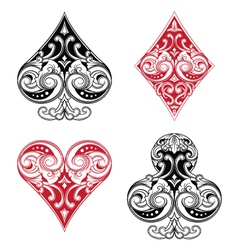 Black and red playing card ornament vector