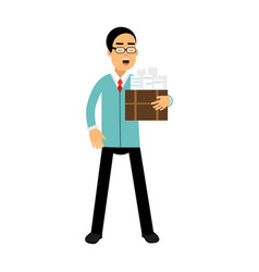 Businessman cartoon character in a blue jacket vector