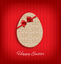 cardboard easter egg with bow vector image