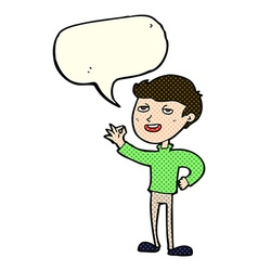 Cartoon man making excellent gesture with speech vector
