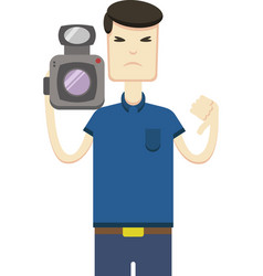 Drawing of an asian with a video camera vector