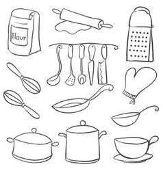 equipment kitchen set doodle style vector image