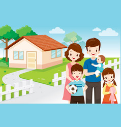 Family standing front their home vector