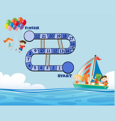 game template with ocean background vector image