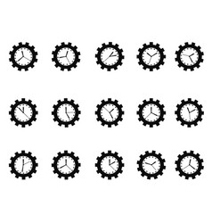 Gear clock icons set vector