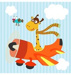 Giraffe bird on airplane vector