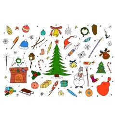 Hand drawn christmas elements in doodle style vector