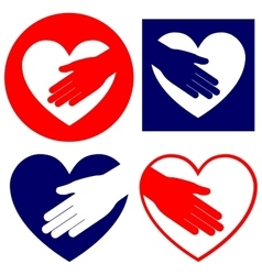 hand helping in heart collection vector image