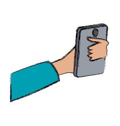 Hand holding smartphone digital design vector