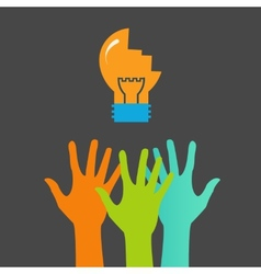 Hands and light bulb Search ideas print vector image